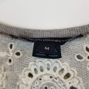 French Connection Tops - French connection gray floral embroidery terry top